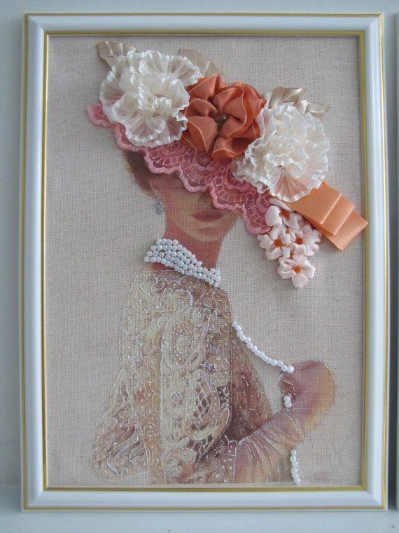 Ribbon Embroidery Wall Art Lady In Hat Framed By Lovelymadegifts 39 00 Embroidery Wall Art Ribbon Embroidery Ribbon Art
