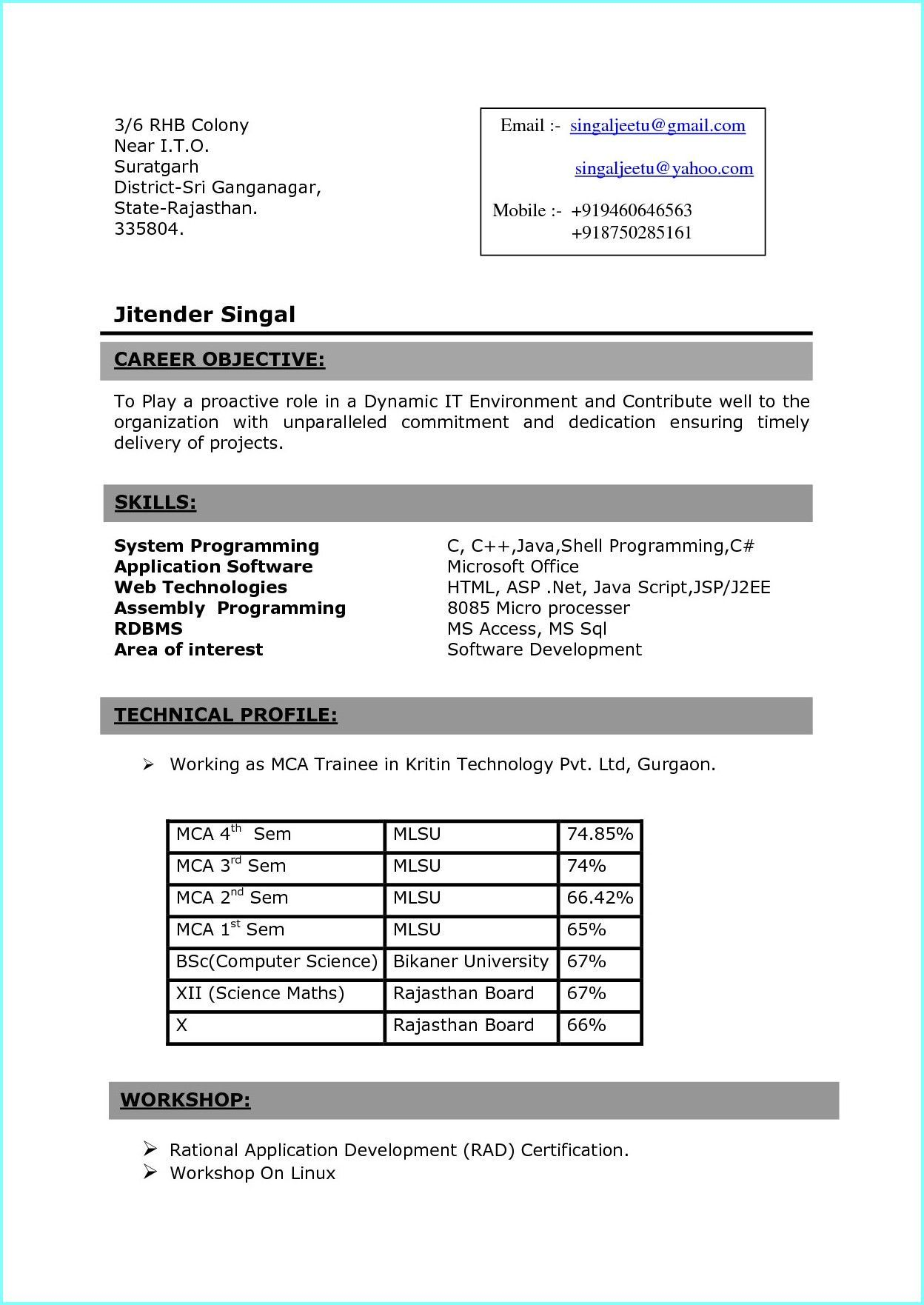 Resume Samples For Freshers In India