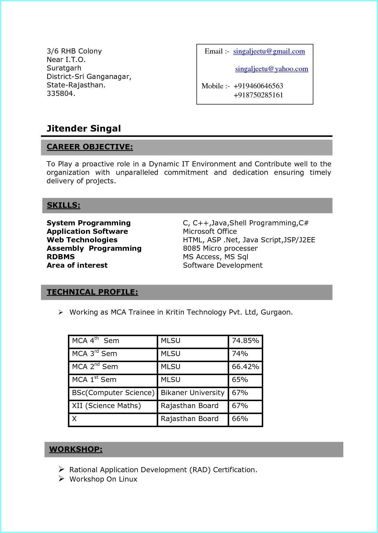Sample Resume For Freshers Pdf