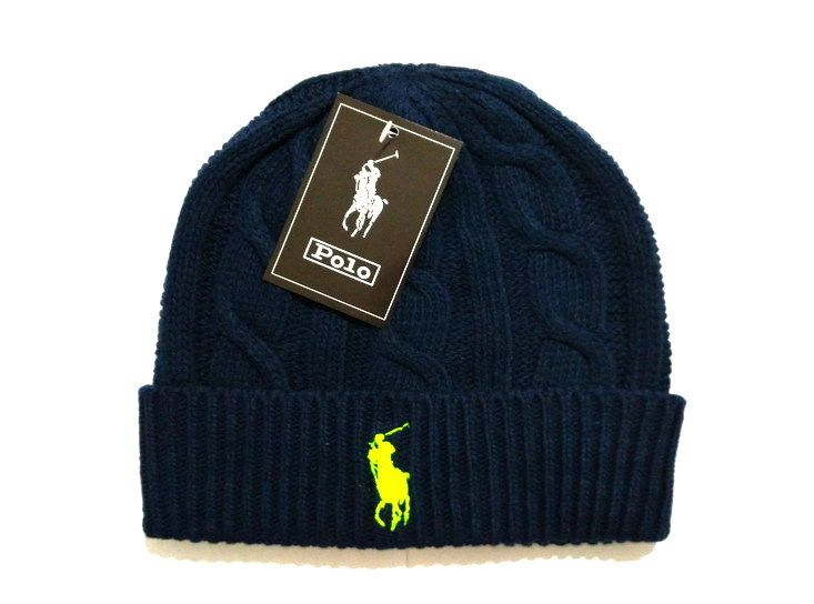 Men's / Women's Polo Ralph Lauren Big Pony Embroidered Cable Knit Ribbed Cuff Winter Beanie Hat - Black / Lime