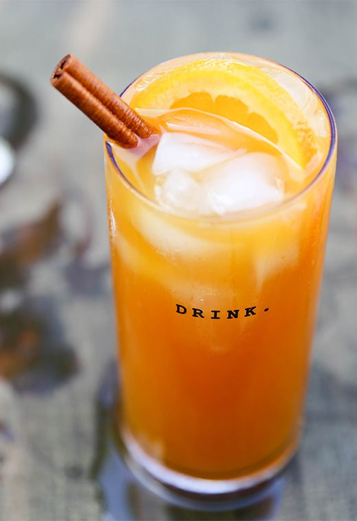 A recipe for a pumpkin beer cocktail with tequila, spiced rum, orange juice and pumpkin puree.