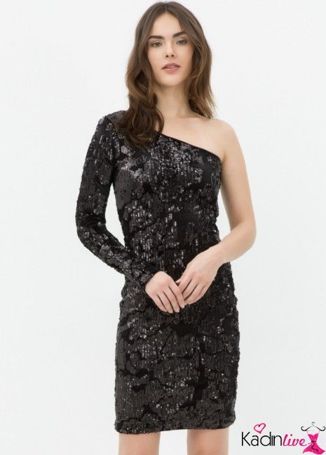 Koton Tek Omuz Tek Kollu Payetli Elbise Modelleri Kadinlive Com Elbise Modelleri Elbise Moda Stilleri
