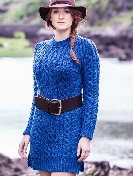 Aran Sweater Dress in Cobalt Blue. Aran Sweater Market, Aran ...