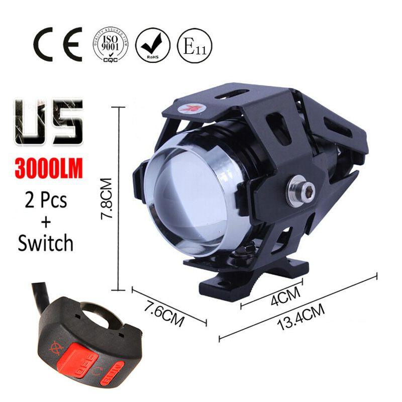 2 x Motorcycle Motorbike Bike 4 LED Front Driving Fog Spot Lights Headlight Lamp
