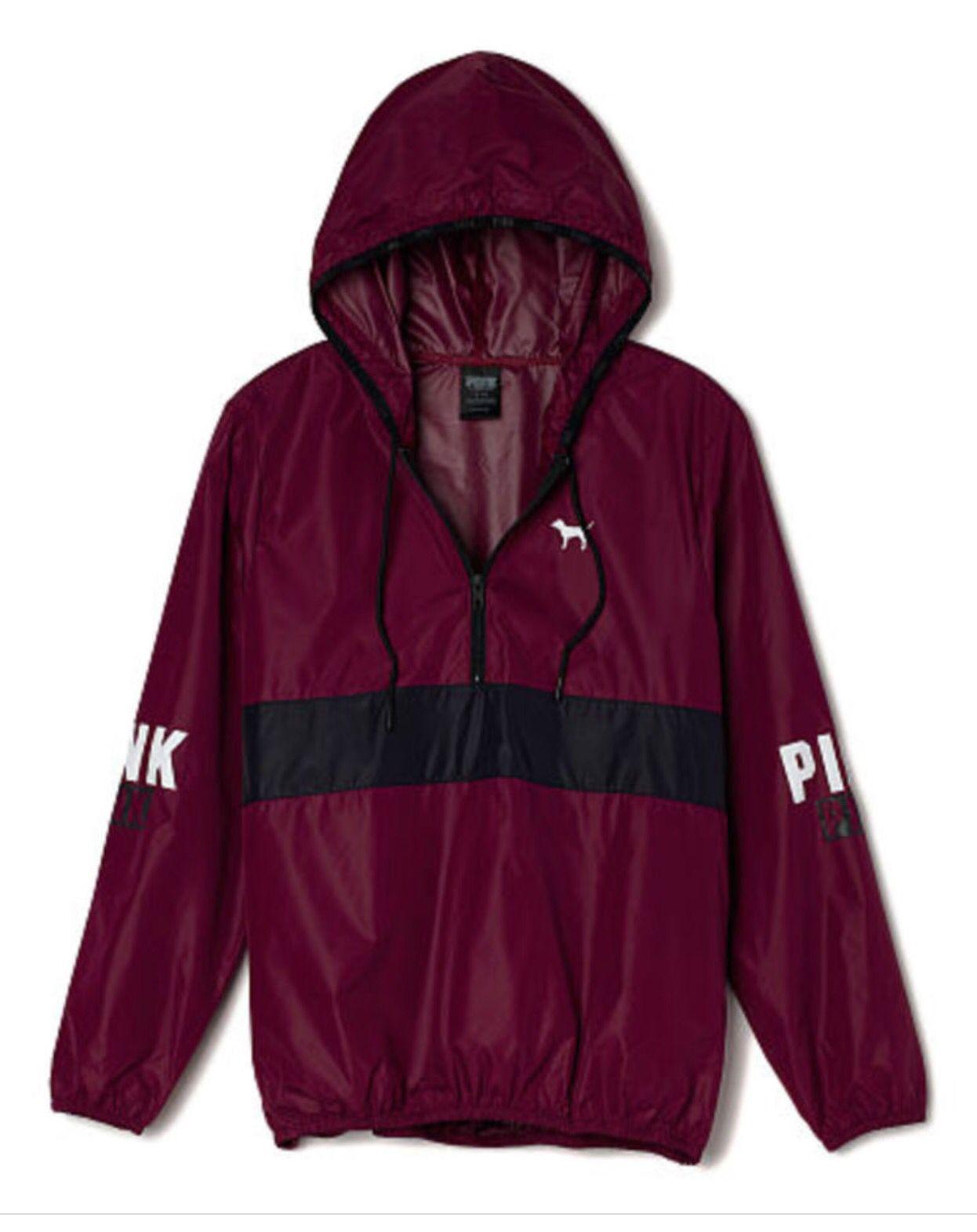 Victorias Secret Pink Windbreaker Quarter Zip Jacket
