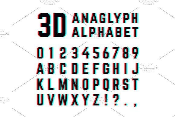 Tv Distortion 3d Effect Stereoscopic Anaglyph Alphabet And Numbers Illustrations Stereoscopic Alphabet And Numbers Illustration