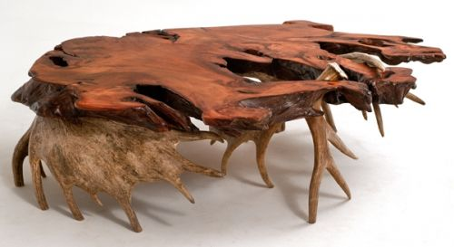 Redwood Slab Coffee Table With Moose Antler Base The Log Builders Helms Pinterest Moose