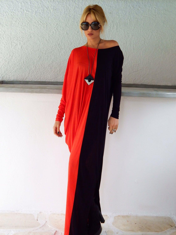 Black u red long sleeve maxi dress black red kaftan asymmetric