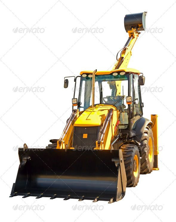 New excavator  background  backhoe  bucket  build