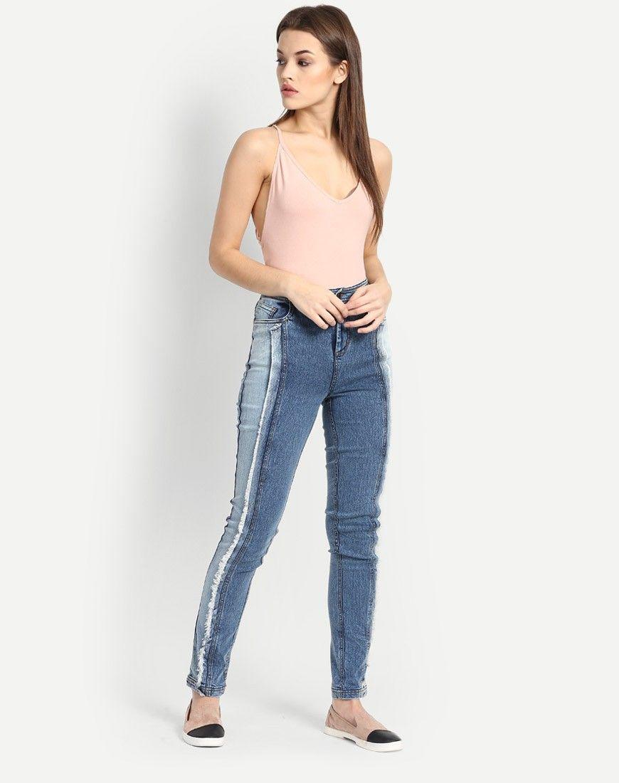 Stalkbuylove Blue Denim Panelled Jeans @looksgud  #panelled, #denim, #Party