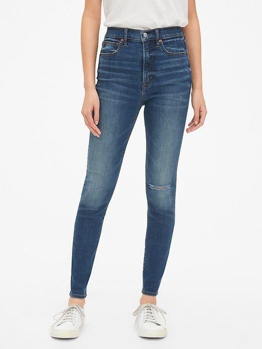 Ladies High Waist Indigo Blue Denim Ripped Knee Distressed Skinny Jeggings Jeans