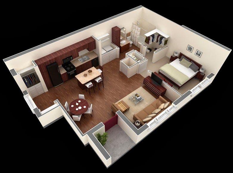 Departamentos peque os planos y dise o en 3d decoraci n for Diseno de apartamento de una habitacion