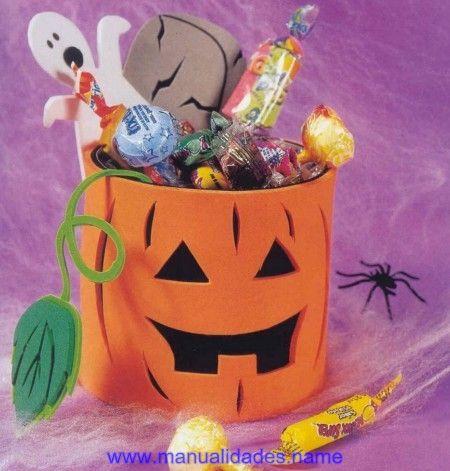 Calabaza de dulces para halloween en manualidades con - Manualidades de calabazas ...