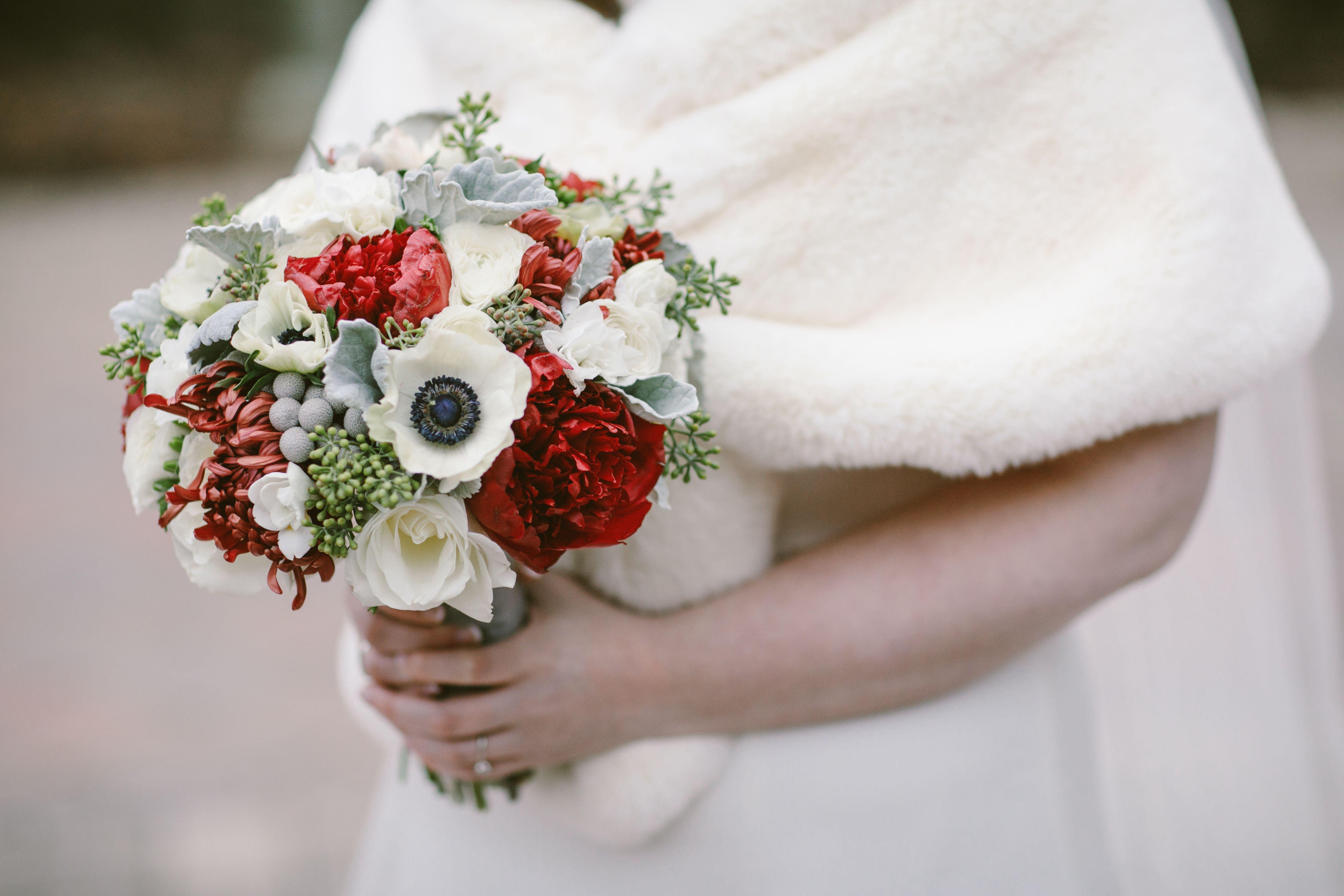 Weddings At Winter Wedding Flowers Seeded Eucalyptus And Red Peonies