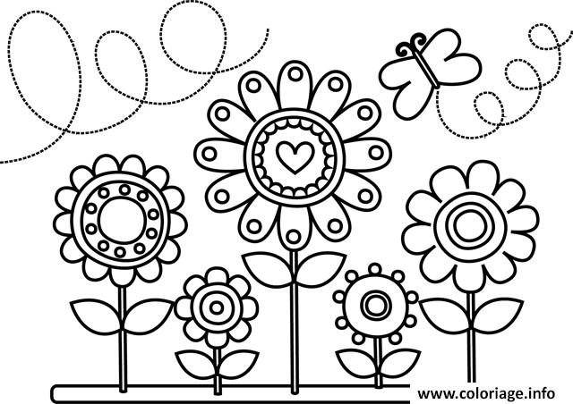 Coloriage Fleurs Et Papillons Dessin A Imprimer Coloriage Fleur A Imprimer Coloriage Fleur Coloriage Papillon
