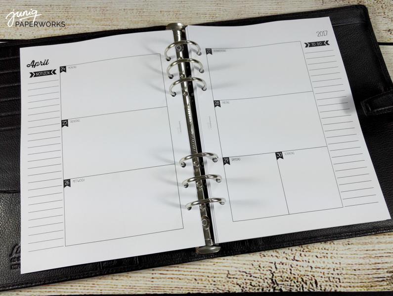 din a5 2017 zeilen s w a5 kalender einlagen 1w 2s ein designerst ck von juniq paperworks. Black Bedroom Furniture Sets. Home Design Ideas