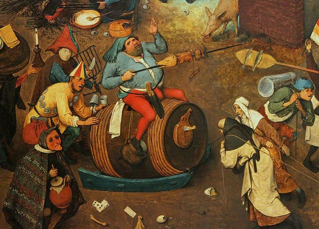 Resultado de imagem para Detail from The Fight between the Carnival and Lent (1559) by Pieter Bruegel the Elder. Courtesy Kunsthistorisches Museum, Vienna/Wikipedia