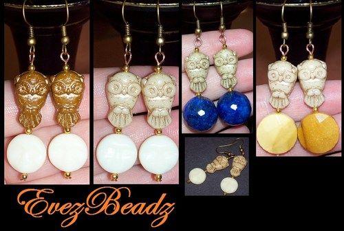 Natural Gemstone and Czech Owl Bead Pierced Hook Earrings,U PICK STONE #handmade by #evezbeadz  #ArtFire