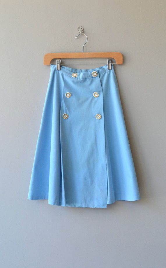 Vintage 1960s light blue cotton twill skirt with A-line shape and double…