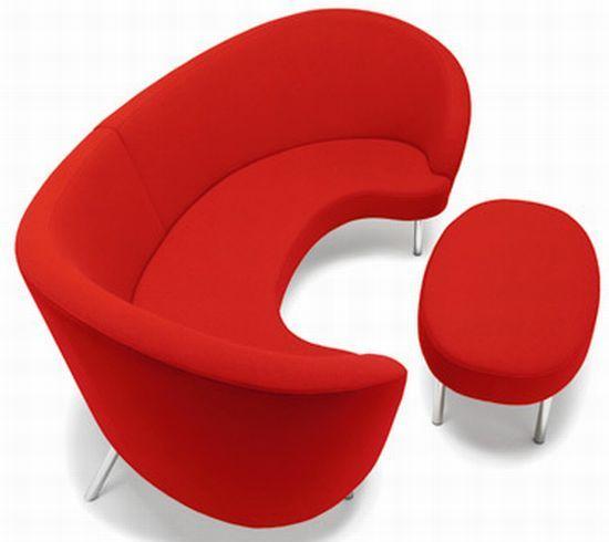 57 Chic And Creative Sofa Designs : 57 Stylish And Creative Sofa Designs  With Half Round Red Sofa