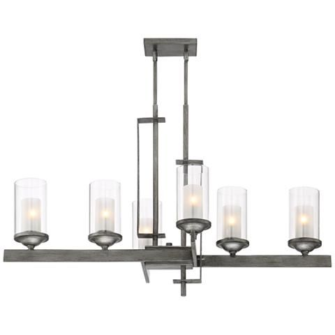 Ribera 40 wide silver gray 6 light island chandelier 9h807 lamps