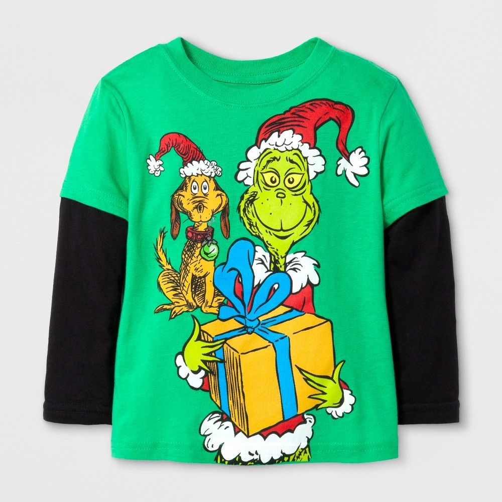 4332e9ff Dr. Seuss Boys' Team Grinch Long Sleeve T-Shirt - Kelly Green/Black ...
