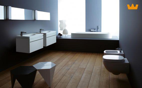 Zwart wit badkamer doet het altijd goed! wel een warm accent door