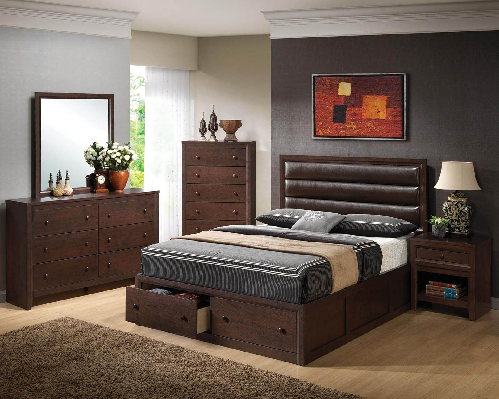 Bed headboard leather - Terrific Black Wooden Bedroom Furniture Set And Modern Leather Upholstered Headboard Also Square Vanity Mirror Excellent
