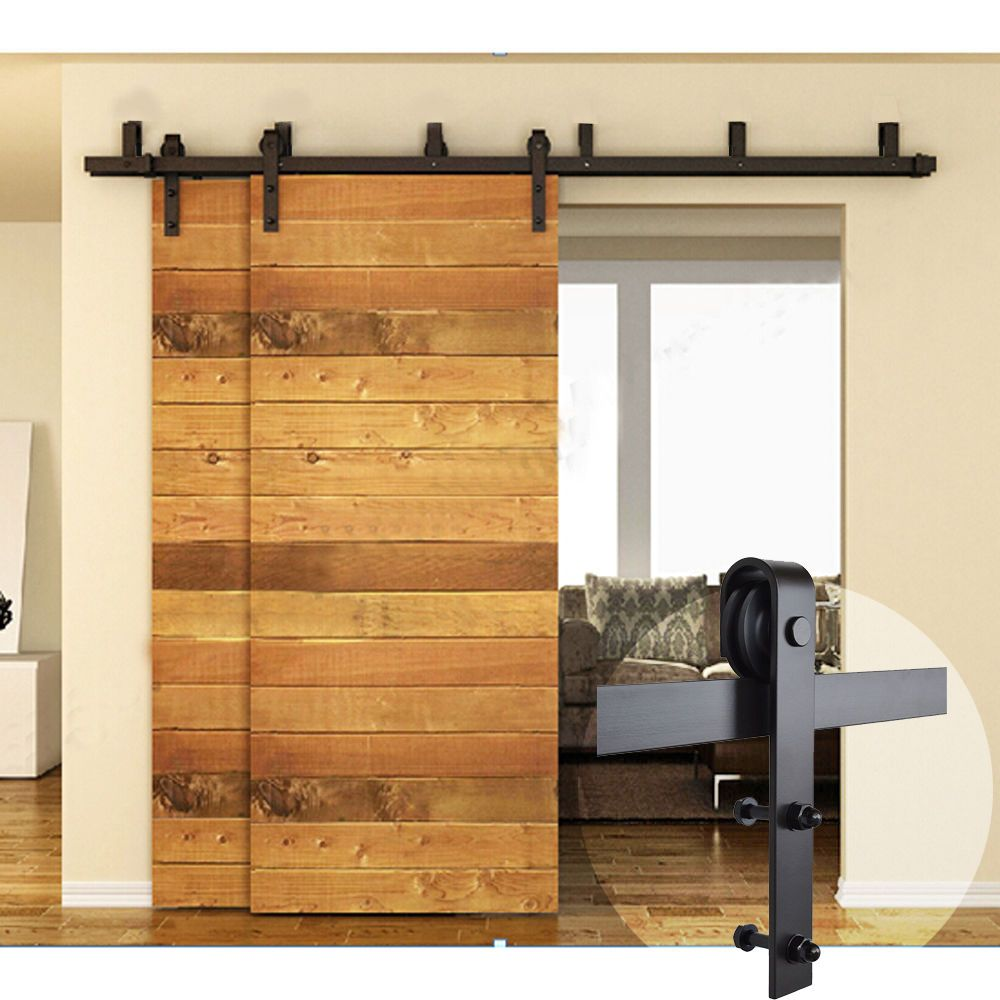 5FT-16FT Black Bypass Country Sliding Barn Double Wood Door ...