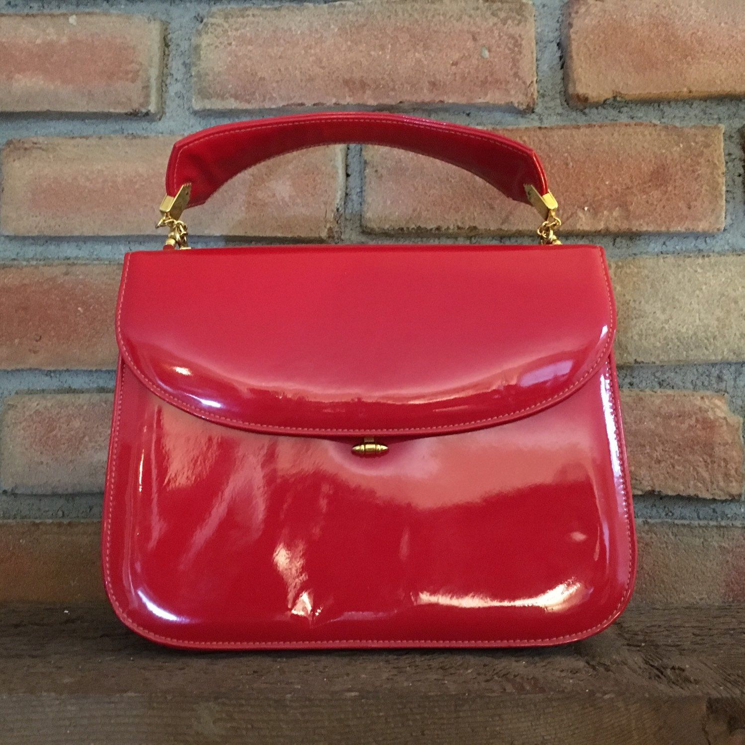 Vintage Saks Fifth Avenue Purse. Red Patent Leather Handbag. Gold ...