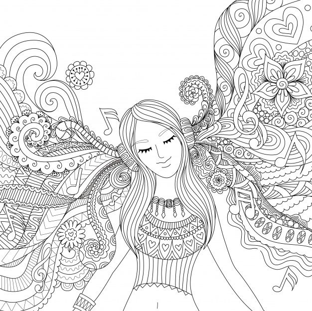 Download Hand Drawn Girl Listening To Music For Free Menina