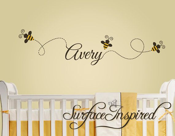 Nursery Wall Decals - Buzzing bee wall decals with custom name. Bees ...