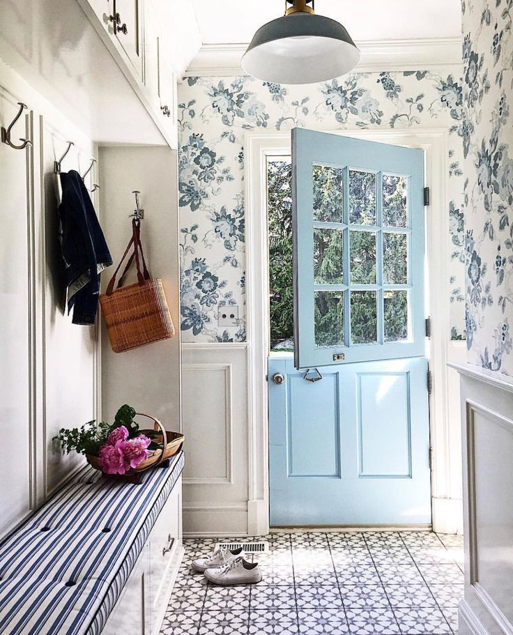 Photo of The most beautiful cottage style mudroom and entryway, with the prettiest colorf…