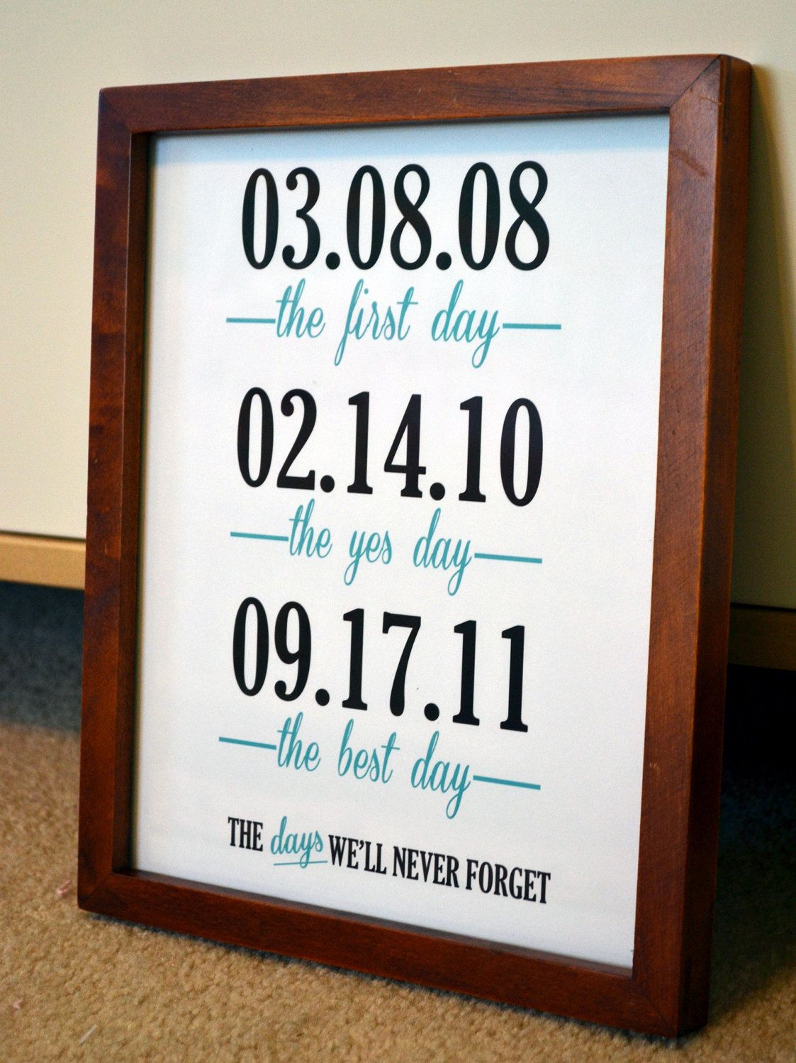 Wedding Anniversary 8x10 Important Date Print Days We Ll Never Forget Gift For Wife Customizable Sign Best Day Ever 10 00 Via Etsy