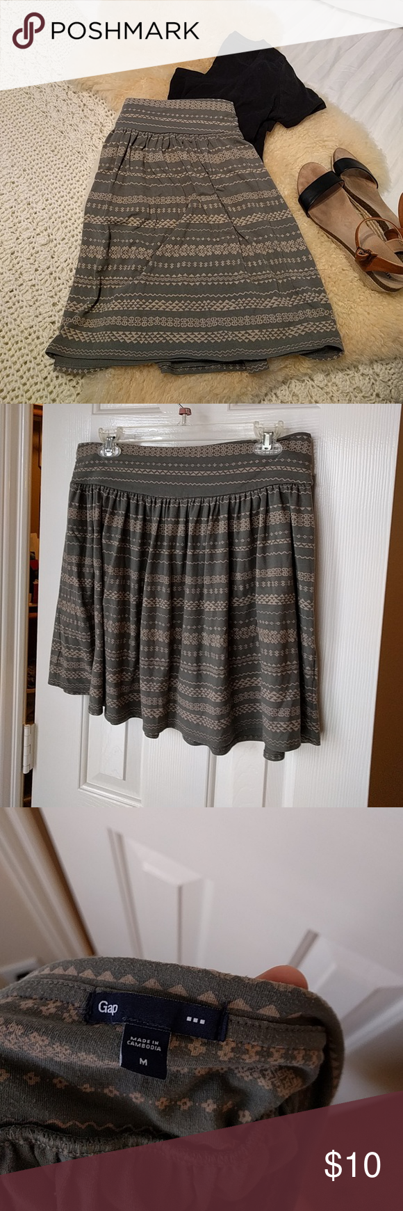 Gap tribal olive Jersey skirt Olive and tan Jersey skirt. Sits at waist, and goes above my knee (5'4). GAP Skirts A-Line or Full