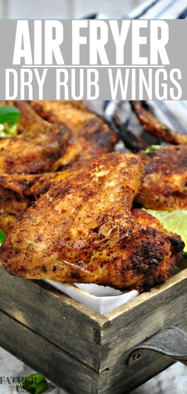 Air Fryer Dry Rub Wings -  These Air Fryer Chicken wings are dry rubbed for that perfect amount of spice without the mess. And - #Air #BbqRibs #Blenders #Dry #DryRubs #fryer #rub #SmokedBeefBrisket #SmokedPork #SmokerCooking #wings