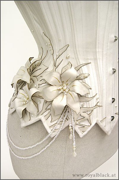 "Underbust Corset ""White Lilies"" Delicate couture corset made from cream white satin."