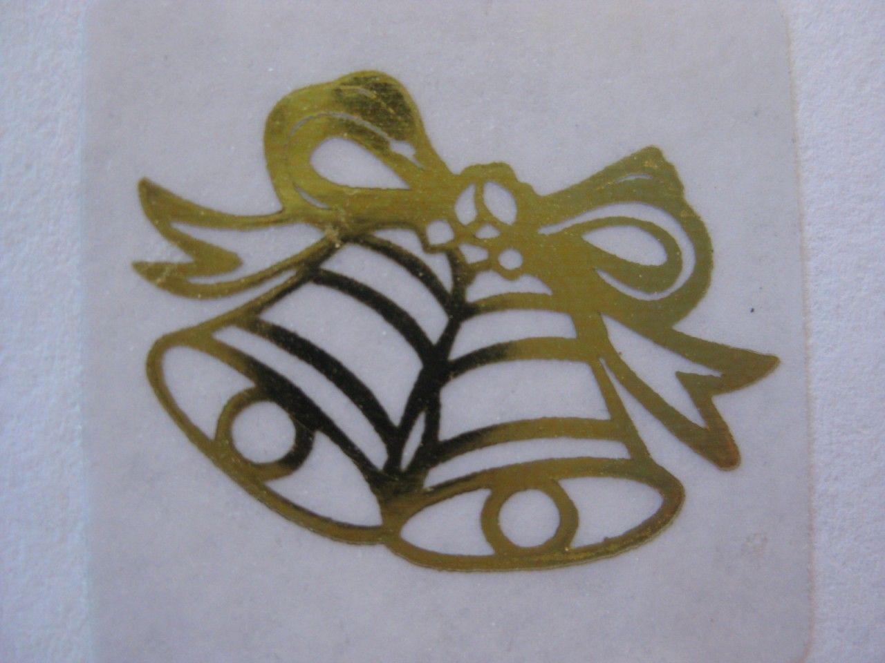 50 Gold Wedding Bell Invitation Seals Stickers