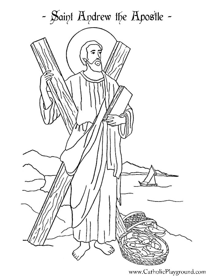 Saint Andrew The Apostle Coloring Page Catholic Playground