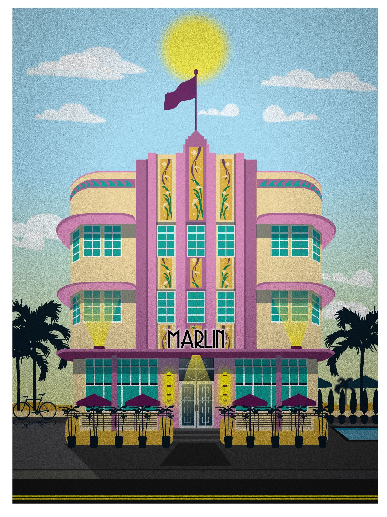 Miami Beach Hotel Series The Marlin 15 Vintage Travel Posters Ilration