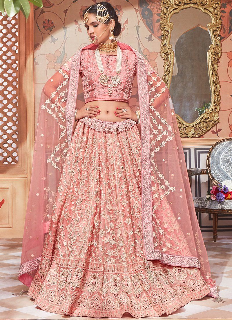 d81daec301 Light Pink Net Lucknowi Embroidered Lehenga in 2019 | Indian Outfit ...