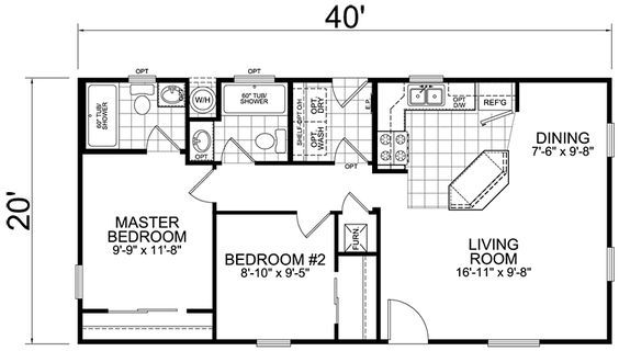 Second Unit 20 X 40 2 Bed 2 Bath 800 Sq Ft Square House