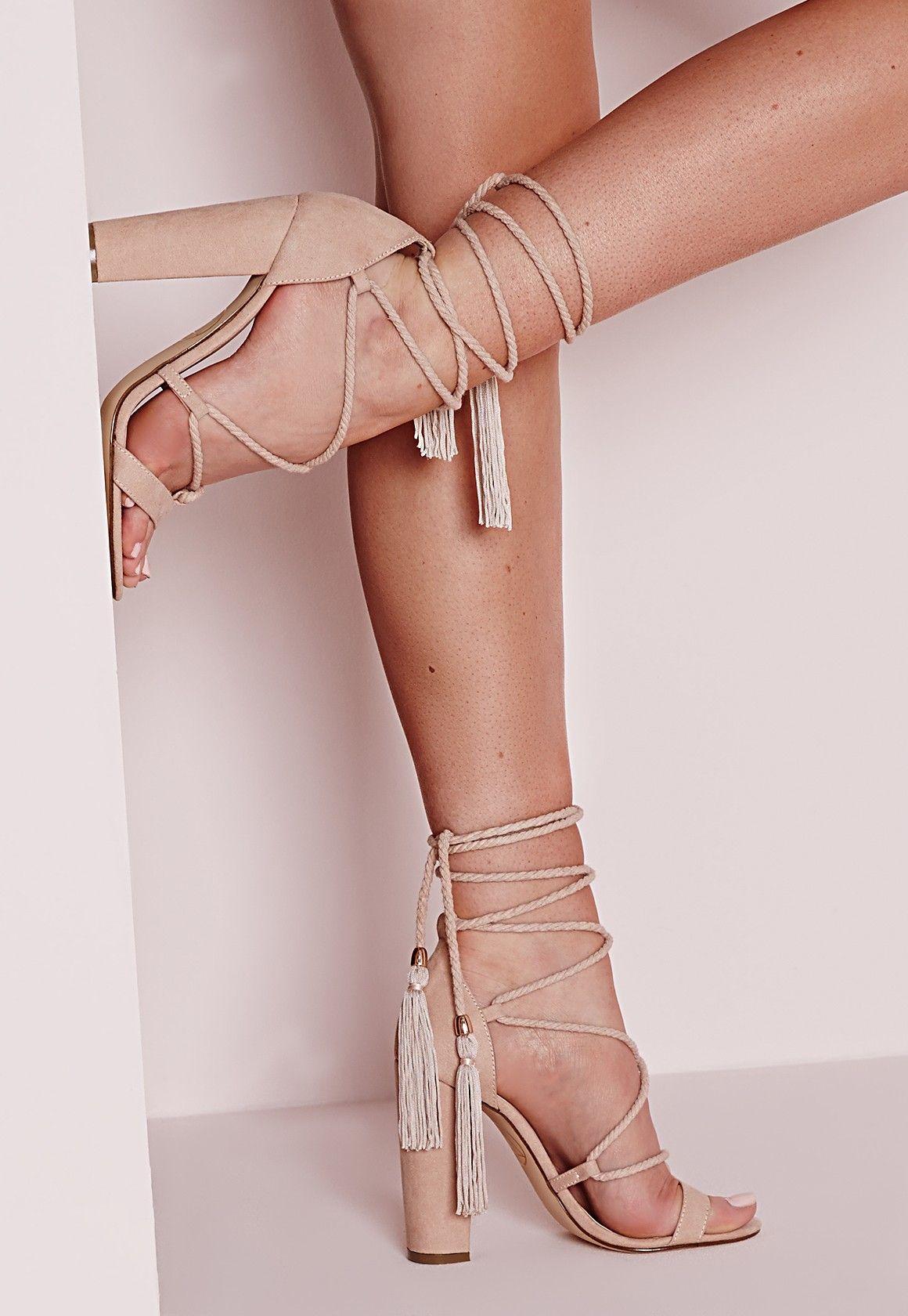 Missguided Sandales à lacets nude talon carré