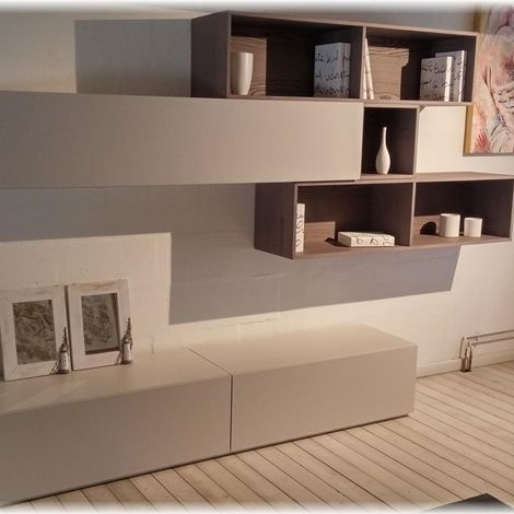 Parete attrezzata soggiorno moderno a Riccione | Interior Design OM ...
