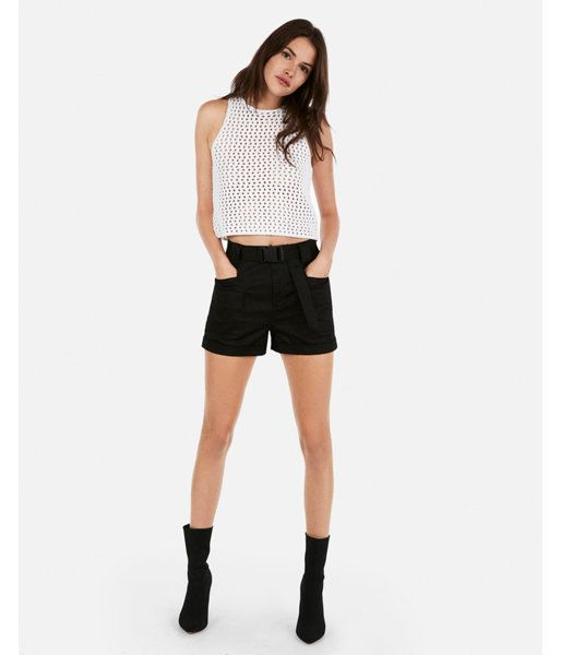 f7b2741c0d8ba Olivia Culpo Cropped Crochet Sleeveless Sweater White Women s XXS ...