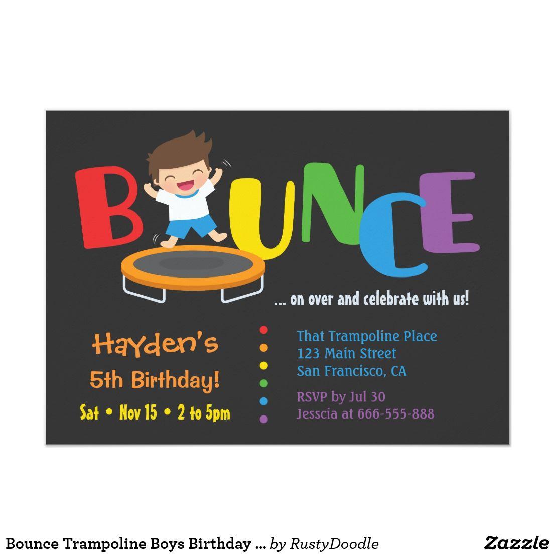 Bounce Trampoline Boys Birthday Party Invitations | Boy birthday ...