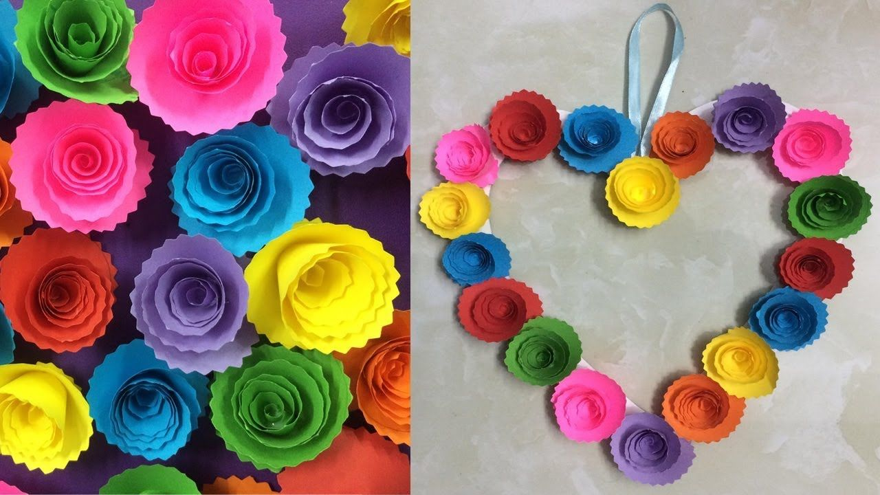 Diy Paper Rose Wall Hanging Easy Wall Decoration Ideas Simple