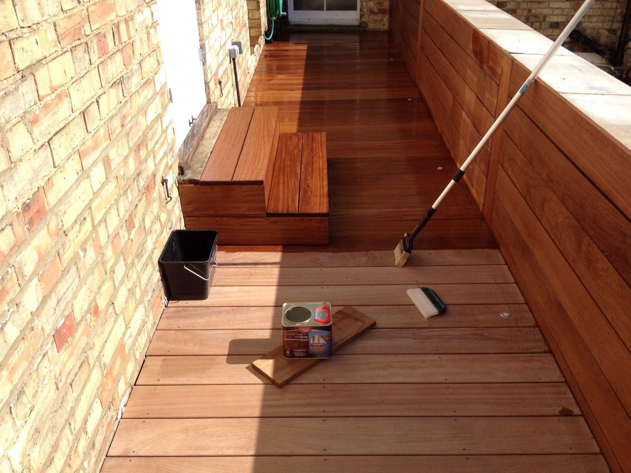 Oiling Iroko hardwood roof deck