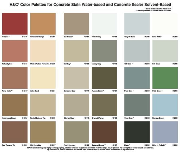 H And C Color Palettes For Concrete Stain Staining Deck Concrete Stain Colors Color Place Paint