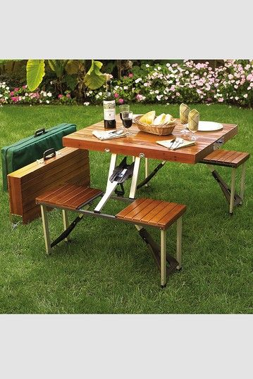 Brown Portable Picnic Table Set | products | Pinterest | Portable ...
